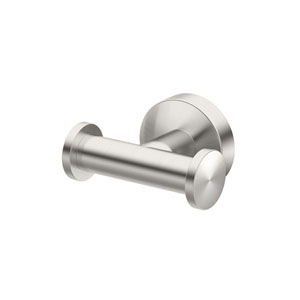 Glam Double Robe Hook Satin Nickel