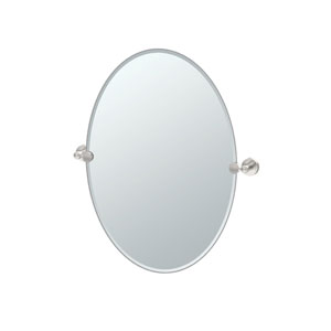 Glam Oval Mirror Satin Nickel