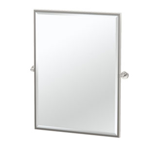 Glam Framed Large Rectangle Mirror Satin Nickel