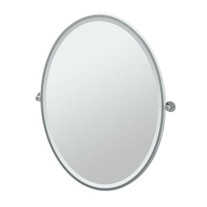 Channel Chrome Framed Large Oval Mirror