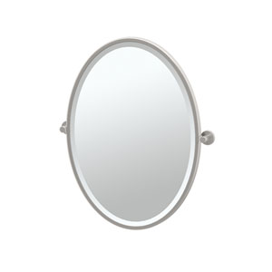 Channel Satin Nickel Framed Oval Mirror