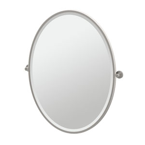 Channel Satin Nickel Framed Large Oval Mirror