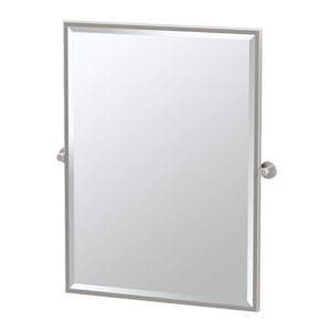 Channel Satin Nickel Framed Large Rectangle Mirror