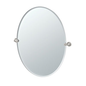Channel Satin Nickel Large Tilting Oval Mirror
