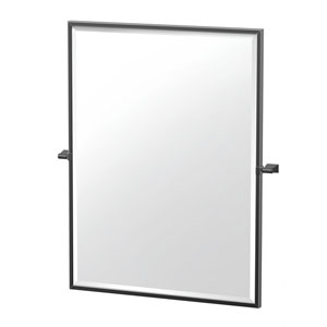 Bleu 32.5-Inch Framed Rectangle Mirror Matte Black
