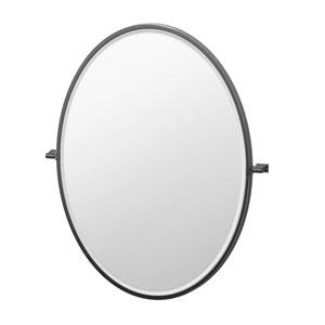 Bleu 33-Inch Framed Oval Mirror Matte Black