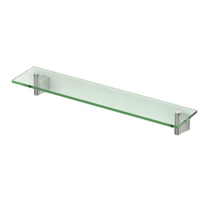 Bleu Satin Nickel 20-Inch Glass Shelf