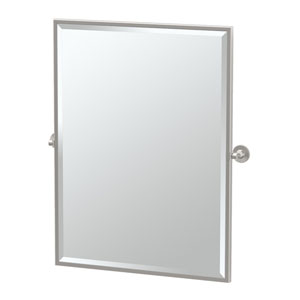 Max Satin Nickel Framed Large Rectangle Mirror