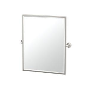 Max Framed Small Rectangle Mirror Satin Nickel