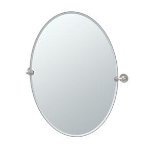 Max Satin Nickel Large Oval Mirror