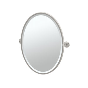Marina Satin Nickel Framed Oval Mirror