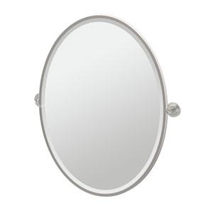 Marina Satin Nickel Framed Large Oval Mirror