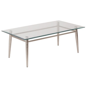 MG Tables Nickel Brush  Glass Top Coffee Table