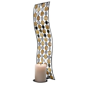 Gold, Silver and Black Small Circle Rectangular Candle Holder Wall Sconce