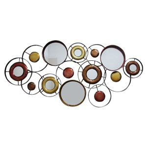 Red and Brown Abstract Round Wall Mirror