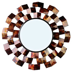 Red and Black Triangle in Circle Wall Mirror