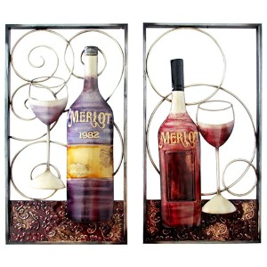 Purple and Maroon Wine Bottle and Glass Wall Hanging Decor, Set of Two