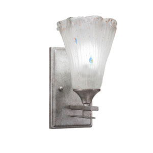 Uptowne Aged Silver One-Light Wall Sconce with Frosted Crystal Glass