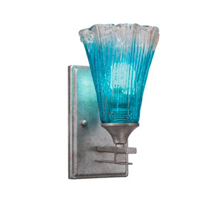 Uptowne Aged Silver One-Light Wall Sconce with Teal Crystal Glass