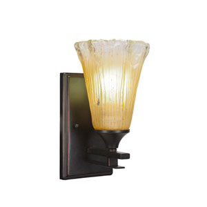 Uptowne Dark Granite One-Light Wall Sconce with Amber Crystal Glass