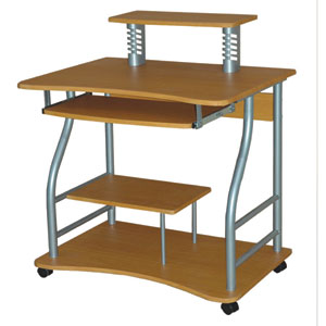 Light Walnut Computer Cart and Casters