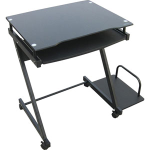 Black and Silver Computer Cart and Casters