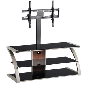 Black TV Stand with Silver Trim