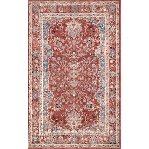 Vintage Faded Evelyn Red Rectangular: 6 Ft. 7 In. x 9 Ft. Rug