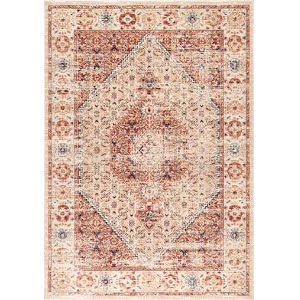 Vintage Medallion Doris Orange Rectangular: 6 Ft. 7 In. x 9 Ft. Rug