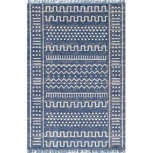 Tribal Cora Blue Rectangular: 6 Ft. 7 In. x 9 Ft. Rug