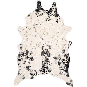 Iraida Faux Cowhide Black Shaped: 5 Ft. 9 In. x 7 Ft. 7 In. Rug