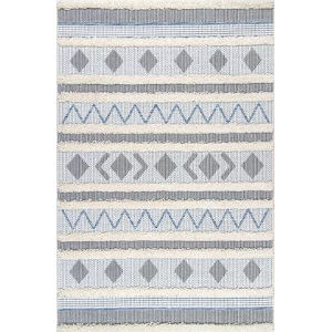 Tribal Lora Denim Blue Rectangular: 5 Ft. 3 In. x 7 Ft. 7 In. Rug