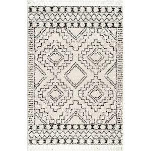 Vasiliki Moroccan Tribal Off White Rectangular: 6 Ft. 7 In. x 9 Ft. Rug