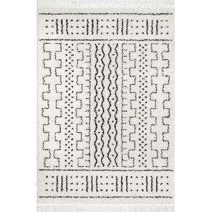 Sophie Moroccan Demarche Off White Rectangular: 6 Ft. 7 In. x 9 Ft. Rug
