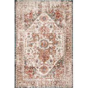 Vintage Medallion Justine Beige Rectangular: 8 Ft. 10 In. x 12 Ft. Rug