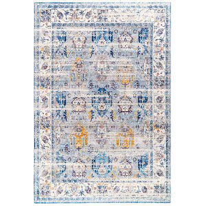 Janel Floral Gray Rectangular: 6 Ft. 7 In. x 9 Ft. 4 In. Rug
