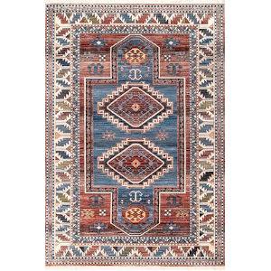 Vintage Kathryn Aztec Blue Rectangular: 6 Ft. 7 In. x 9 Ft. 4 In. Rug