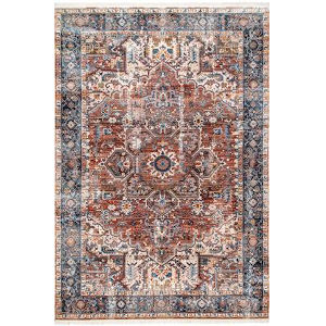 Vintage Pauline Floral Rust Rectangular: 6 Ft. 7 In. x 9 Ft. 4 In. Rug