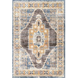 Stacey Medallion Blue Rectangular: 7 Ft. 10 In. x 10 Ft. 10 In. Rug