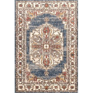 Lea Medallion Blue Rectangular: 5 Ft. 3 In. x 7 Ft. 7 In. Rug
