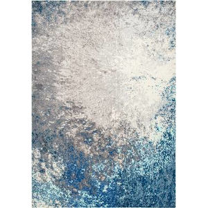 Donya Abstract Blue Rectangular: 6 Ft. 7 In. x 9 Ft. Rug