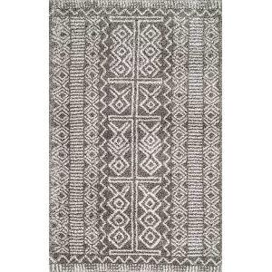 Hurley Tribalgy Dark Gray Rectangular: 6 Ft. 7 In. x 9 Ft. Rug