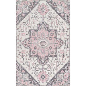 Dewitt Floral Pink Rectangular: 7 Ft. 6 In. x 9 Ft. 6 In. Rug