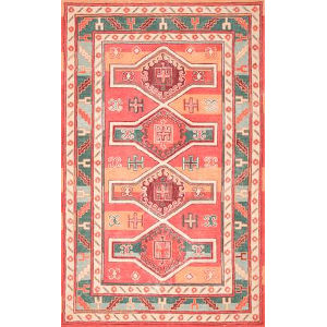 Tribal Shelley Peach Rectangular: 7 Ft. 6 In. x 9 Ft. 6 In. Rug
