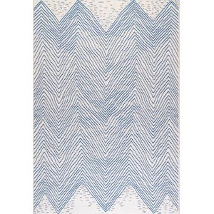 Wavy Chevron Blue Square: 7 Ft. 6 In. Rug
