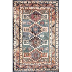 Monica Tribal Blue Rectangular: 5 Ft. 3 In. x 7 Ft. 8 In. Rug