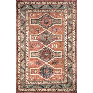Monica Tribal Orange Rectangular: 7 Ft. 10 In. x 11 Ft. 2 In. Rug