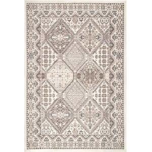 Vintage Tile Becca Beige Rectangular: 6 Ft. 7 In. x 9 Ft. Rug