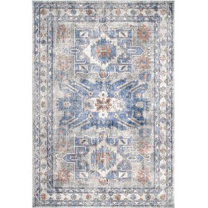 Vintage Rebecca Floral Blue Rectangular: 6 Ft. 7 In. x 9 Ft. Rug
