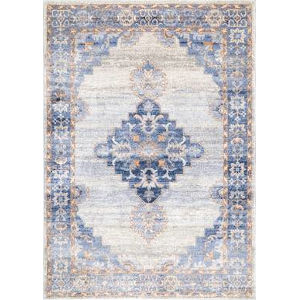Vintage Johnnie Medallion Blue Rectangular: 6 Ft. 7 In. x 9 Ft. Rug